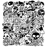 150 Pcs Black and White Car Sticker for Laptop Motorcycle Luggage Vinyl Graffiti Bomb Decal Bumper Skateboards Snowboard Awesome Travel Stickers Pack (Color: 150 Pcs Black and White)