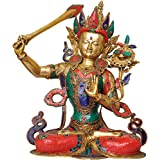 Exotic India Manjushri - Bodhisattva Of Transcendent Wisdom - Brass Statue With Inlay