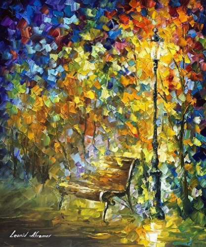 "Leonid Afremov Original Image From Painting Green Vibrations Print On Artistic Cotton Canvas, Size: 20""X24"""