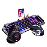 Zhengfangfang Mechanical Keyboard and Mouse Headset 3 Piece Set - Esports Game Waterproof Wired Keyboard (Macro Programming)