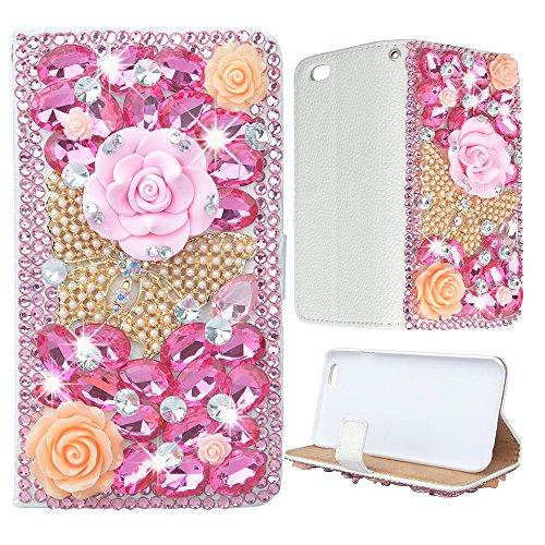 Evtech (TM) farfalle e fiori con strass bling cristallo Glitter-Cassetta per cartelle PU Custodia in pelle Folio Libro Art con borsa a mano supporto per cellulare & slot, Rosa