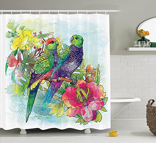 [Parrots Decor Collection Faded Flowers and Love Parrots Botanical Flora with Romantic Orchides Wings Boho Artwork Polyester Fabric Bathroom Shower Curtain] (Parrot Costume Ebay)