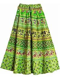 DollsofIndia Sangenari Block Print On Green Cotton Long Skirt - Length - 38 Inches - Elastic Waist - 26 To 38...