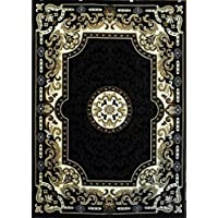 Traditional Area Rug Black Design Kingdom # 123