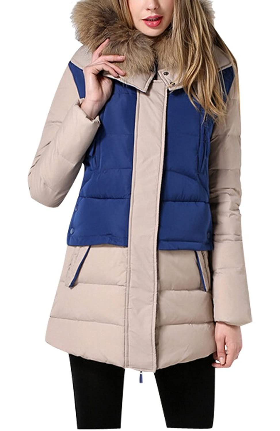 Voguees Damen Winter Warmer Pachwork Down Jacket Coat
