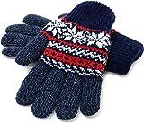 (マルカワジーンズパワージーンズバリュー) Marukawa JEANS POWER JEANS VALUE 手袋 メンズ グローブ スマホ対応 スマートフォン対応 ニット 雪柄 ノルディック柄 二重構造 4color Free ネイビー