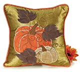 Harvest Pumpkin Olive Green Throw Pillow for Thanksgiving and Autumn Decor
