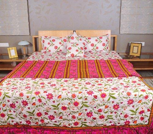 Imagen 1 de Hoja Traditional Floral Design Bed conjunto con cojines a juego Cubra Una colcha y almohada Casos Tamaño 90 x 108 pulgadas