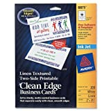 Avery Linen-Textured Two-Side Clean Edge Business Cards for Inkjet Printers, White, Pack of 200 (08873) ~ Avery