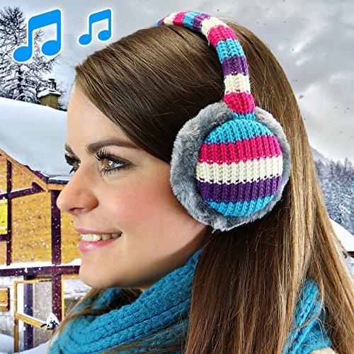URCOVER® Earmuffs Cuffie Scaldaorecchie Paraorecchie Copriorecchie | Altoparlanti Integrati | Compatibili Android e iOS | Cavo Audio da 3,5 mm [ Blu ]