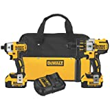 DEWALT DCK296M2 20V XR Lithium Ion Brushless Premium Hammerdrill and Impact Driver Combo Kit (Color: Yellow, Tamaño: 14.00in. x 10.25in. x 6.50in.)