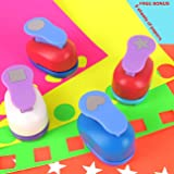 Buytra Scrapbook Paper Punchers Hole Punch 1 Inch - Shape Punches for Kids Paper Crafts, Card Making, Scrapbooking - 4 Shapes Including Circle, Star, Heart, Square Punch, Color May Vary (Color: 4 Pieces 1