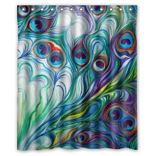 Flawless peacock feathers Watercolor painting Bathroom Shower Curtain, Shower Rings Included 100% WaterProof Polyester Fabric 60
