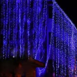 Anleolife 110V USA Power Plug 6M x 3M 600Led Icicle light White LED Outdoor Home Party Christmas xmas Decoration String Fairy Wedding Curtain Garlands Strip Lights (blue)