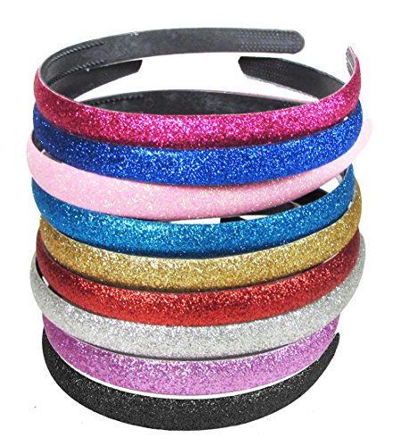"HipGirl Girls / Women, Jewel Headbands (9pc 1/2"" Glitter Sparkle Headbands for Dancing/Cheer Leading)"