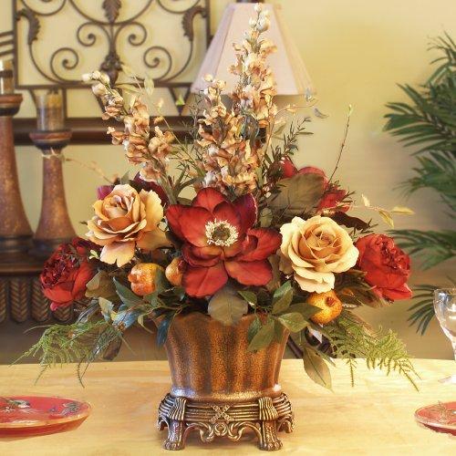 Silk Floral Centerpiece Ar246 85 Magnolia Rose Silk Flower Arrangement