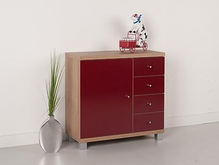 Kommode / Anrichte / Sideboard mit einer Tur und 4 Schubkästen - Noce / Nussbaum hell - Rot glänzend