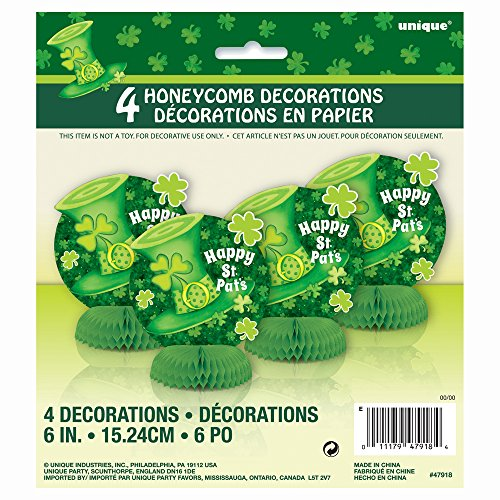 "6"" Mini Honeycomb Saint Patrick's Day Stripes Decorations, 4ct - 1"