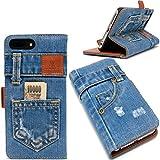 本格デニム iPhone7 plus ケース 手帳型 (アイフォン7 プラス) マグネット式、スタンド機能、カード収納 人気アイホンケース