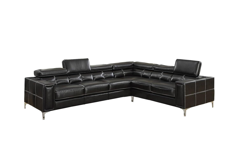 Poundex Bobkona Claxton Bonded Leather Sectional Sofa - Black