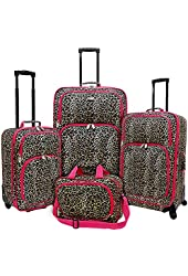 U.S. Traveler Purple Polka Dot 4 Piece Spinner Luggage Set