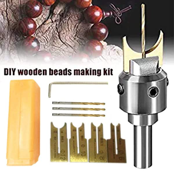 Hand Drill Bits,Beads Drill Bit Wooden Bead Maker,Milling Cutter Set Woodworking Tool Kit for Wooden Beads Woodworking (10 PCS) (Color: 10 PCS)