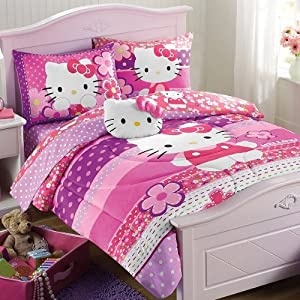 Amazon.com - Hello Kitty Pink Purple Twin Comforter and Sheet Set