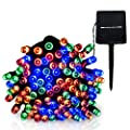 LED String Lights Solar Christmas Lights 39ft 100 LED 8 Modes Ambiance lighting for Outdoor Patio Lawn Landscape Fairy Garden Home Wedding Holiday waterproof Colored lights