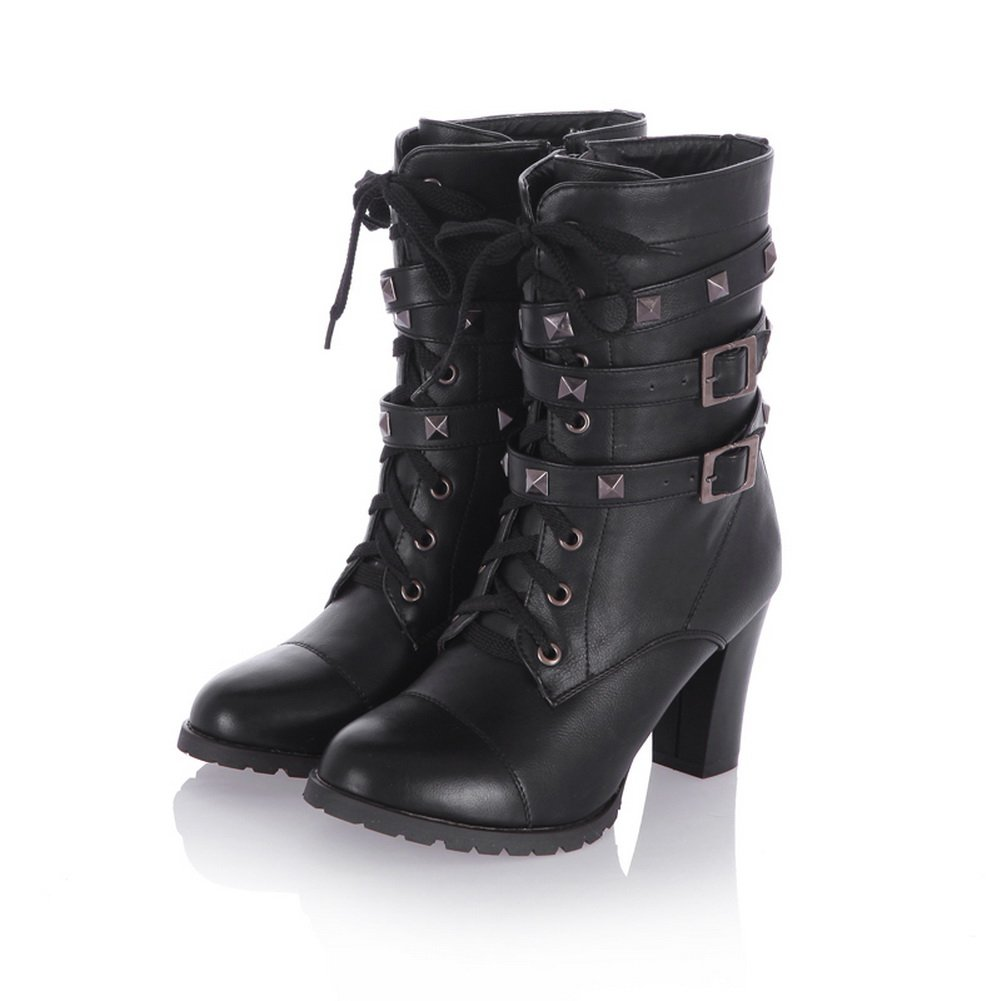 QueenFashion Women's Korean Style High Chunky Heels Solid Combat Boots with Metal Buckles and Rivets,Black,38