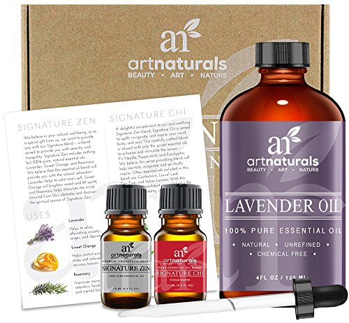 Art Naturals® Lavender Essential Oil 4 oz 3pc Set - Includes Our Aromatherapy Signature Zen Blend 10ml + Travel Size Lavender Oil 10ml - Therapeutic Grade 100% Pure & Natural From Bulgaria (4 oz) (Grape Perfume compare prices)