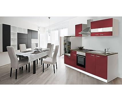 respekta Kuchenzeile 270 cm weiß rot - mit APL Nussbaum (Nachbildung) KB270WR