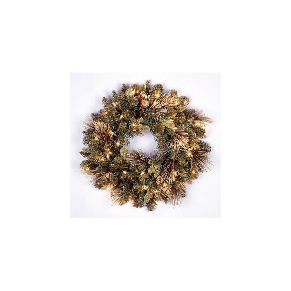 24 Carolina Pine Pre Lit Artificial Christmas Wreath w/Pine Cones  Clear Lights