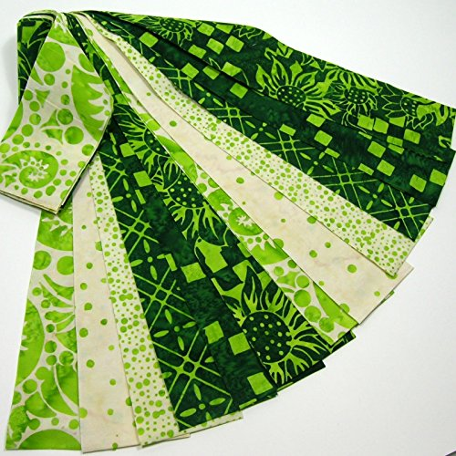 Bali Batik Jelly Roll 12 Fabric Strips 2.5 x 42-inch Green (Jelly Rolls Green compare prices)