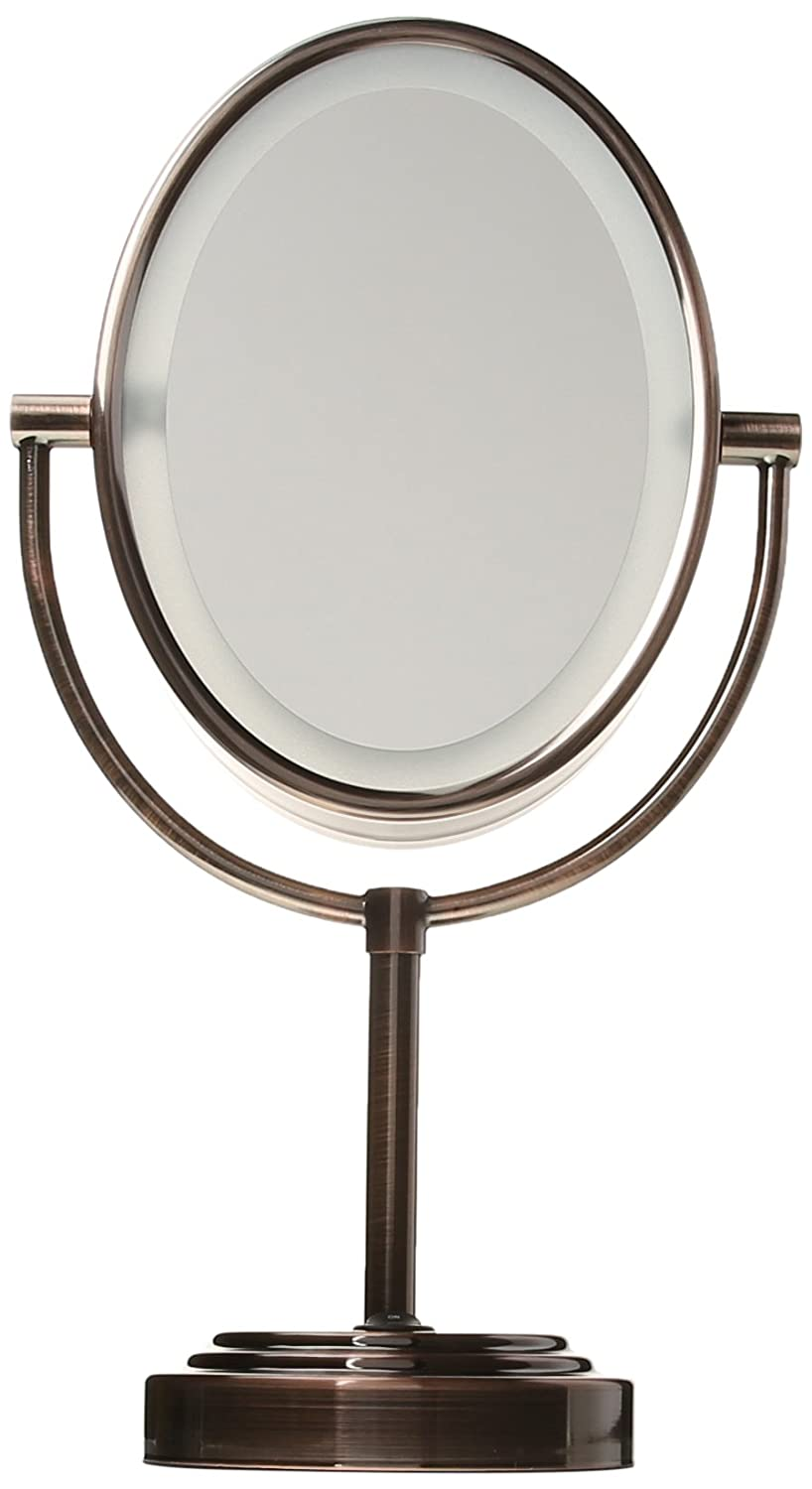 Makeup lighted mirrors oval double sided lighted mirror for Lighted mirror