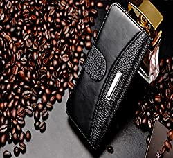 myLife (TM) Coffee Black and Brown - Classic Design - Textured Koskin Faux Leather (Card and ID Holder + Magnetic Detachable Closing) Slim Wallet for iPhone 5/5S (5G) 5th Generation iTouch Smartphone by Apple (External Rugged Synthetic Leather With Magnet