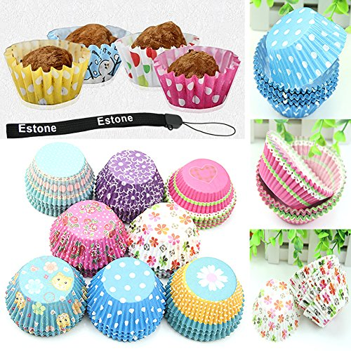 Estone® 100Pcs Original Mini Round Cake Paper Holds Greaseproof Baking Cupcake Cases front-552046