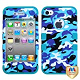 Product B00CQ9AFH6 - Product title MyBat IPHONE4AVHPCTUFFIM060NP Rugged Hybrid TUFF Case for iPhone 4 - Retail Packaging - Aquatic Camouflage/Tropical Teal