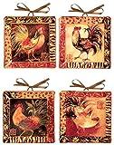 Manual Decorative Plates, Mini, Safari Rooster by Susan Winget, Set of 4