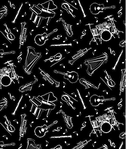 musik-stoff-von-halben-meter-50-cm-x-110-cm-100-baumwolle-bla24-musical-instruments-on-black