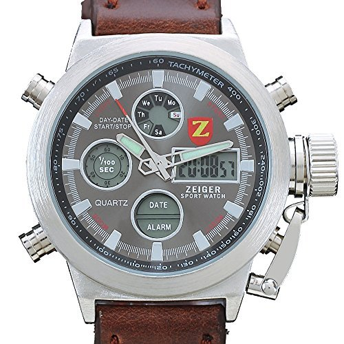 Zeiger Brown Leather Band Military Sports Mens Watch with Chronograph