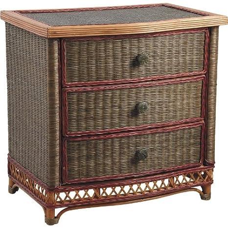 Commode de 3 tiroirs en rotin écorcé et moelle de rotin teintés vernis, Dim : 76 x 50 x 77 cm -PEGANE-