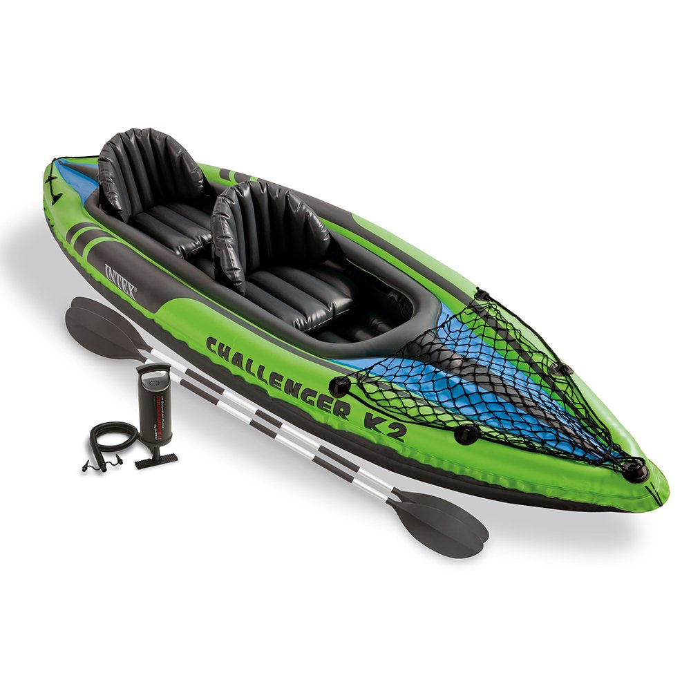 New green intex k2 challenger kayak 2 man inflatable canoe for 2 person kayak fishing