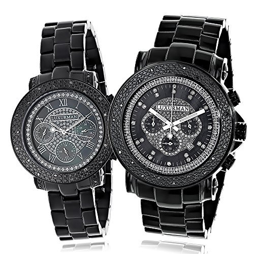 Large Matching His and Hers Watches: Black Diamond Luxurman Watch Set 0.55ct