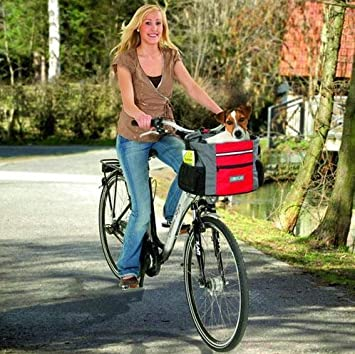 hunde fahrrad transportkorb hundekorb fahrradkorb grau rot bis. Black Bedroom Furniture Sets. Home Design Ideas