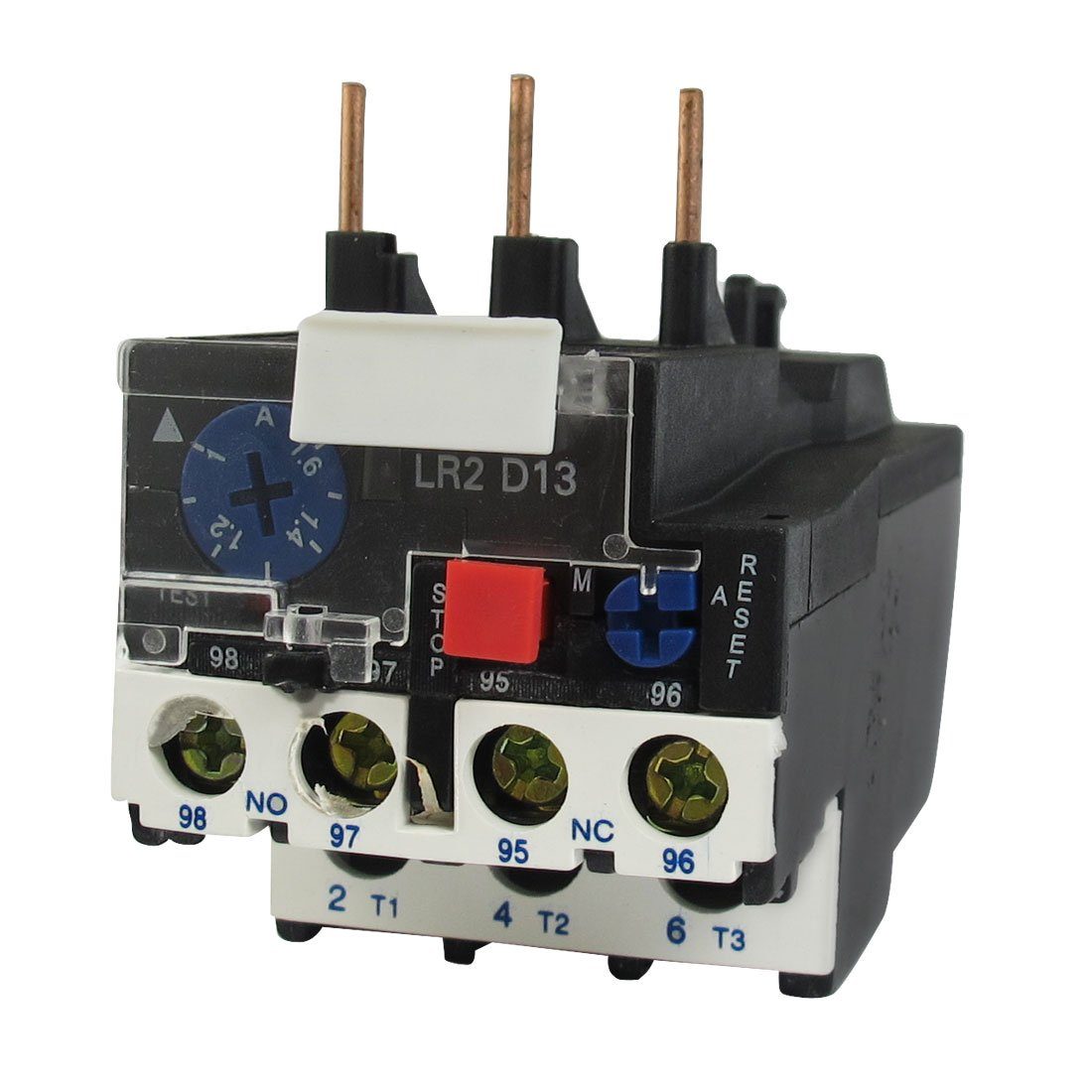 LR2-13 1.6A 1-1.6A 3-Phase 1NO 1NC Electric Thermal Overload Relay 2 pin thermal overload protection
