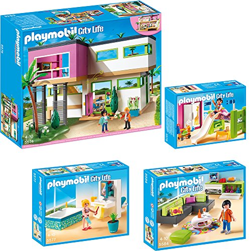 Playmobil city life 4 teiliges set 5574 moderne luxusvilla 5577