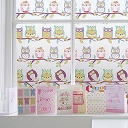 bofeifs Owl Static Home Bedroom Barthroom Privacy Window Film, Self Static Adhesive Cling,17.7x78.7 Inch