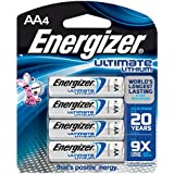Energizer Ultimate Lithium AA Batteries, World's Longest Lasting Battery for High-Tech Devices (4 Each)