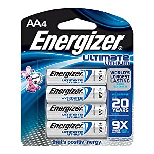 Energizer Ultimate Lithium AA Batteries, World's Longest Lasting Battery for High-Tech Devices (4 pack)