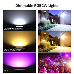 Novostella 2 Pack 20W Smart LED Flood Lights, RGBCW, 2700K-6500K, 2000LM, WiFi Outdoor Dimmable Color Changing Stage Light, IP66 Waterproof, Multicolor Wall Washer Light, Work with Alexa (Color: Rgbcw (Rgb+warm White+ Daylight White))